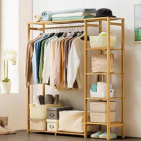 tủ treo quần áo có bánh xe gỗ tre - tủ mắc quần áo đa năng gỗ tre có bánh xe - tủ treo quần áo size vừa cao cấp