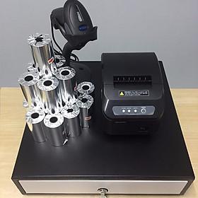 Trọn bộ 4 món TL041 gồm : Máy in K80 + Máy quét mã vạch + Két thu ngân + Giấy in bill ( Hàng nhập khẩu)