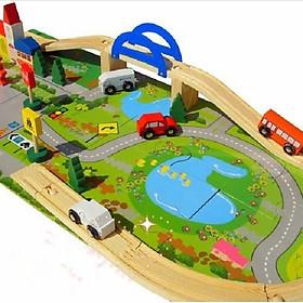 Bộ đồ chơi lắp ghép giao thông thành phố bằng gỗ