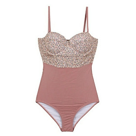 Bikini liền thân phối hồng hàng cao cấp