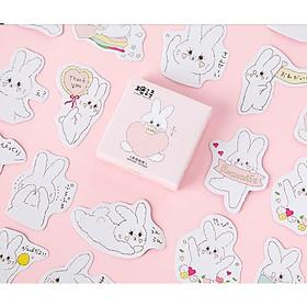 Hộp 45 Miếng Dán Sticker Trang Trí Thỏ Ôm Tim
