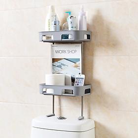 <[ Tặng túi 10 viên tẩy bồn cầu]> Kệ nhà tắm 2 tầng hít tường