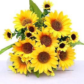 1 cành Hoa giả, bó hoa hướng dương vàng trang trí lớp học, nhà hàng, khách sạn, quán cafe,..