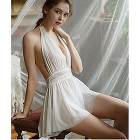 Váy ngủ Quảng Châu voan cuốn cổ cao cấp