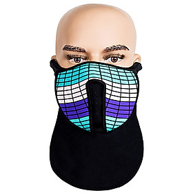 Halloween Mask Costume Party Cosplay Prank Face Cover LED Rave Mask Light Up Glow Face Mask Sound Activated for