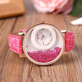 Fashion Women Crystal Rhinestones Leather Sand Type Quartz Wristwatch Gifts