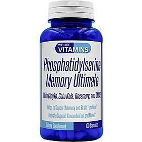 Phosphatidylserine 500mg Per Serving Memory Ultimate Plus Ginkgo and DMAE 100 Capsules Phosphatidyl Serine Helps Support Cognitive Health, Brain Function, Mental Clarity, and Focus