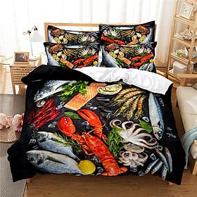 2Pcs/3Pcs Full/Queen/King Quilt Cover +Pillowcase 3D Digital Printing BBQ Fruit Series Beeding Set