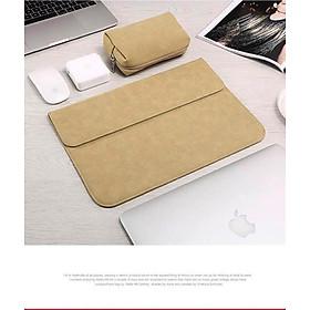 Bao da, túi da, cặp da chống sốc cho macbook, laptop chất da lộn kèm ví đựng phụ kiện - Vàng Cát - Macbook Air 13.3 inch đời 2017 về trước
