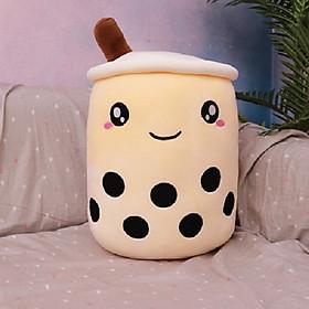 Gấu Bông Gối Ôm Thú Bông, Nhồi Bông Hình Ly Trà Sữa Xinh Xắn Ngộ Nghĩnh 25Cm- Màu Kem Cheese