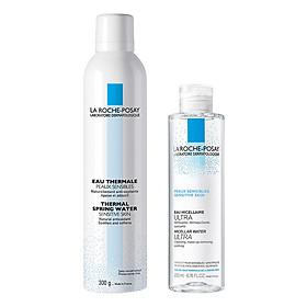 Bộ chăm sóc da Nước Tẩy Trang Làm Sạch Sâu Cho Da Nhạy Cảm La Roche-Posay Micellar Water Ultra Sensitive Skin (200ml) + Nước Khoáng Làm Dịu Và Bảo Vệ Da - Thermal Spring Water Sensitive Skin La Roche Posay (300ml)