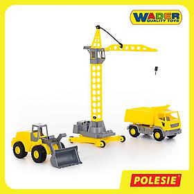 Bộ 3 Xe Công Trình Xây Dựng Và Cần Cẩu Tháp, Đồ Chơi Giáo Dục Châu Âu, An Toàn Cho Bé - Polesie Toys 57150