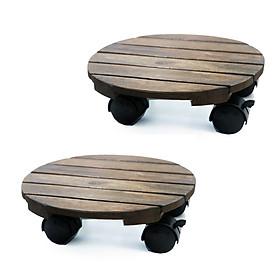 Combo 2 Đế lót chậu cây có bánh xe Tròn Đen chịu lực 80kg - Chất liệu Gỗ tràm bông vàng