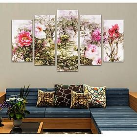 Tranh treo tường, tranh trang trí PP_ NT541 bộ 5 tấm ghép hoa mẫu đơn