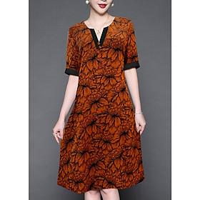 Đầm Thời Trang Cho Tuổi Trung Niên Dáng Dài Kiểu Đầm Suông Ngắn Tay Đính Nút In Họa Tiết - THỜI TRANG TRUNG NIÊN NỮ  GOTI