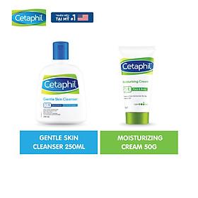 Combo Sữa rửa mặt làm sạch dịu nhẹ không xà phòng Cetaphil Gentle Skin Cleanser 250ml + Kem dưỡng ẩm Cetaphil Moisturizing Cream 50g