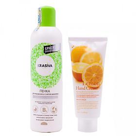 Hình đại diện sản phẩm Combo Sữa rửa mặt và tẩy trang tạo bọt Nga cao cấp Krasiva (250ml) + Tặng ngay Kem dưỡng da tay chiết xuất Chanh Hàn Quốc cao cấp 3W Clinic Lemon Hand Cream (100ml) – Hàng chính hãng