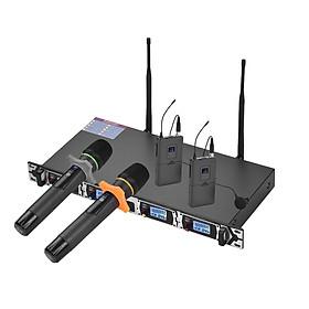 Hệ Thống Micro Không Dây UHF 4 Kênh Muslady D4-3 Và 2 Tai Nghe Cùng Bộ Chuyển Đổi