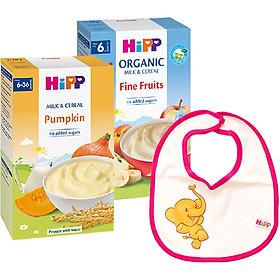 Combo 2  Bột Sữa Và Rau Củ Dinh Dưỡng Hipp Vị Bí Đỏ 3323 & Bột Dinh Dưỡng Hoa Quả Tổng Hợp (Táo, Chuối, Lê, Mơ) Hipp 250g - 3141 - Tặng Kèm 1 Yếm Ăn Dặm Hipp