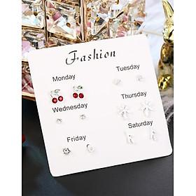Set 6 bông tai ONE WEEK mini thời trang nữ RA002