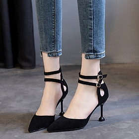 IELGY High-heeled shoes Korean version of the fine with a wild pointed word buckle women's shoes