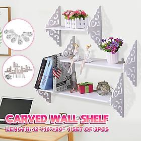 3pcs White Wall Mount Shelf Floating Carved Hanging Bookcases Wall Rack Holder Storage Display Set