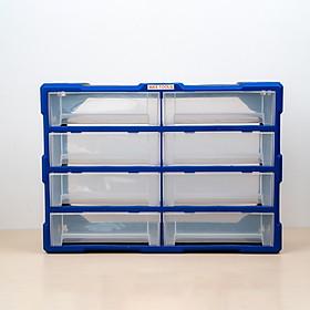 Tủ đựng linh kiện ốc vít, phụ kiện điện thoại, đồ chơi le go, đồ DIY, thùng đựng linh kiện sữa chữa, nhựa nguyên sinh 8 hộp to A008