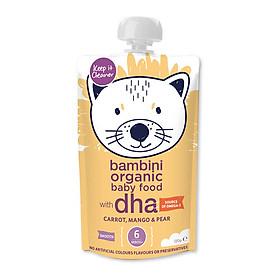Hỗn hợp Cà rốt, Xoài và Lê xay nhuyễn Bambini Organic 120g - Từ 6 tháng tuổi