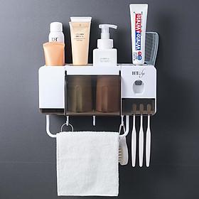 Kệ để đồ nhà tắm dán tường HT SYS-SKY55-tích hợp giá treo khăn và dụng cụ nhả kem đánh răng tự động