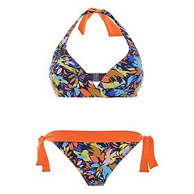 Bộ Bơi 2 Mảnh Viviane Orange Halter Top & Bikini Side - Tie Bottom SW0716 - Họa Tiết Cam