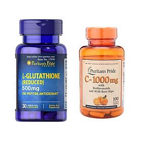 Combo viên uống trắng da L-Glutathione 500mg (30 viên) và vitamin C 1000mg (100 viên nhộng)