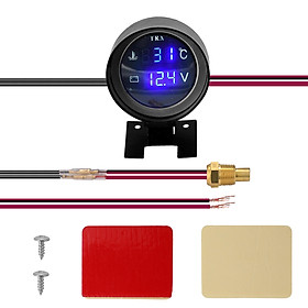 Round LED Digital Car Truck Water Temp Gauge Temperature Sensor Temperatura Moto + Voltmeter Volt Voltage Meter 2 in 1