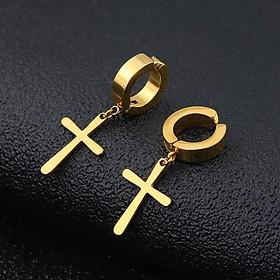 Bông Tai Nam Loại Kẹp Không Cần Bấm Lỗ Tai Hình Thánh Giá Chất Liệu Thép Titan Không Đen Không Dị Ứng TT 1370 - 1 cặp