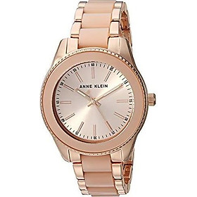 Anne Klein Women's AK/3214WTGB Gold-Tone and White Resin Bracelet Watch