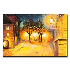 Tranh Canvas Suemall Treo Tường Nghệ Thuật Phố Lên Đèn CV1408108