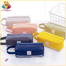 Hộp Bút Vải Canvas Siêu To - Túi Viết Nhiều Màu 2 Ngăn - Bóp Viết E419