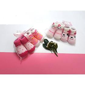 Set 2 đôi vớ/tất len túi lưới cao cấp cho bé trai/bé gái sơ sinh 0-6 tháng-họa tiết ngẫu nhiên
