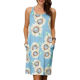 Fashion Women Summer Sunflower Print Dress O Neck Sleeveless Pocket Casual Sundress