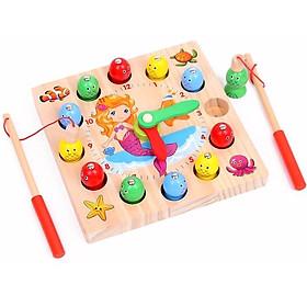 Bộ câu cá thông minh kết hợp đồng hồ cho bé bằng gỗ _ đồ chơi trí tuệ an toàn cho bé MK0069