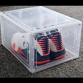 1 Hộp đựng giày nhựa cứng cao cấp -Nắp Trong Suốt Tích Hợp Nam Châm Hít-Màu trắng trong suốt