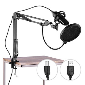 USB Professional PC Microphone Set Cardioid 192KHz/24Bit Noise-Cancelling Condenser Mic Compatible with Windows