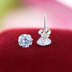 Bông tai nữ bạc 925 - Khuyên tai bạc nữ đẹp đính đá BTN0044