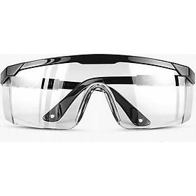 Mắt kính bảo hộ lao động, Kính bảo hộ trong suốt bảo vệ mắt hỗ trợ phòng dịch, chắn gió bụi chống tia UV - Gọng đen tròng trong suốt
