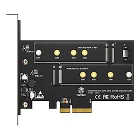 Adapter Kingshare Chuyển Đổi SSD M2 NVMe + M2 sata To PCIe 3.0 x 4 (2 Slot ) - Hàng Nhập Khẩu
