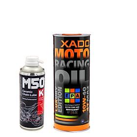 Combo Dầu nhớt nhập khẩu Hà Lan cao cấp Xado Racing 10w40 hồi phục động cơ + Xịt sên phủ sứ cao cấp Voltronic M50 (M50k)