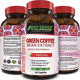 Pure Green Coffee Bean Extract and Standardized to 50% Chlorogenic Acid with Weight Loss Supplement for Men and Women, Burns Both Fat and Sugar with High Grade Natural Ingredients
