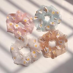 Combo 4 dây buộc tóc Scrunchies hoa cúc  (Tặng kèm kẹp tóc)