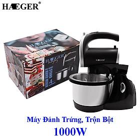 Máy đánh trứng, trộn bột để bàn HAEGER Turbo 1000W siêu khỏe dung tích 2.5L Hàng chính hãng