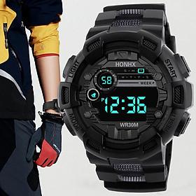Đồng hồ điện tử thời trang nam nữ HONHX Hn1. mặt tròn dây silicon full chức năng, có báo thức và đèn ban đêm