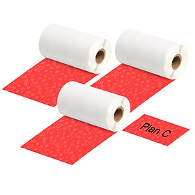 Aibecy 3 Rolls Self-Adhesive Thermal Paper Black on Red Heart Red Background 53mm*3.5m Compatible with Phomemo M02/M02S